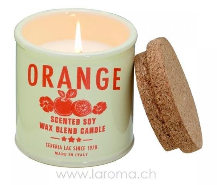 Orange Soja-Duftkerze gross Keramik-Pot