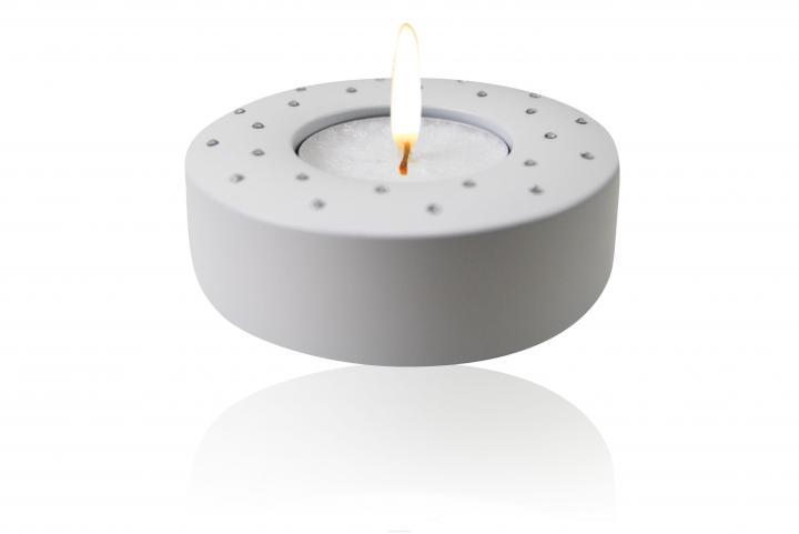 Candela (Swarovski) pure white Teelichthalter