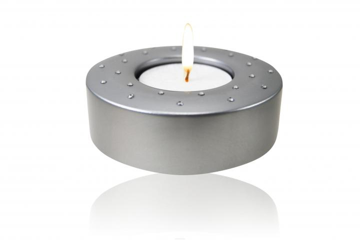 Candela (Swarovski) silver Teelichthalter