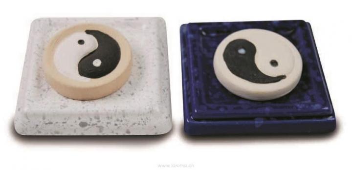 Aromastein YinYang mit Untersetzer weiss oder blau
