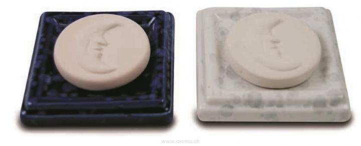 Aromastein Mond mit Untersetzer weiss oder blau