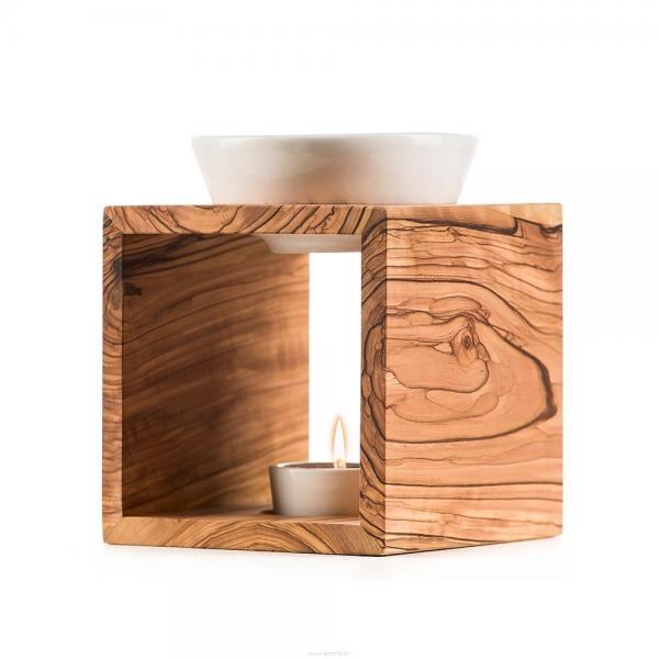 Melide Duftlampe Olivenholz Keramikschale weiss