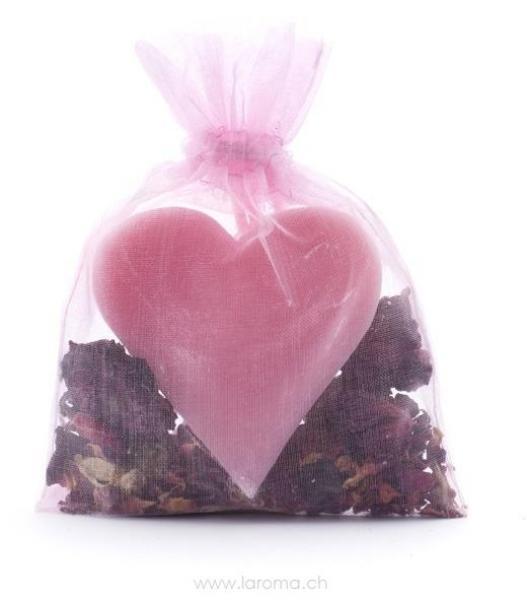 Rosenblüten Duftsack Herzseife mit Blüten (50g)
