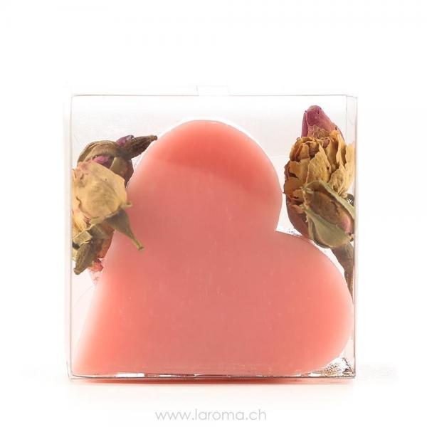 Rosenblüten mit Herzseife in Acetatbox